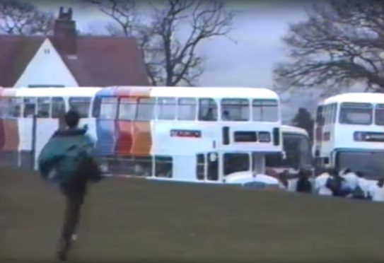 Stagecoach busses pick up pupils at Perth High School in March 1989.