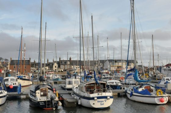Busy pontoons in Arbroath's inner harbour