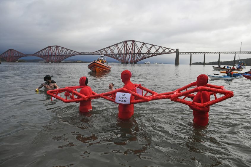 A group dressed as the Forth Rail Bridge at South Queensferry's dook.