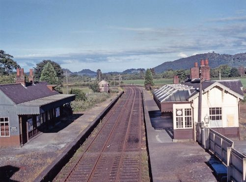 Comrie Station, looking east from the A85 road bridge, around 1960.