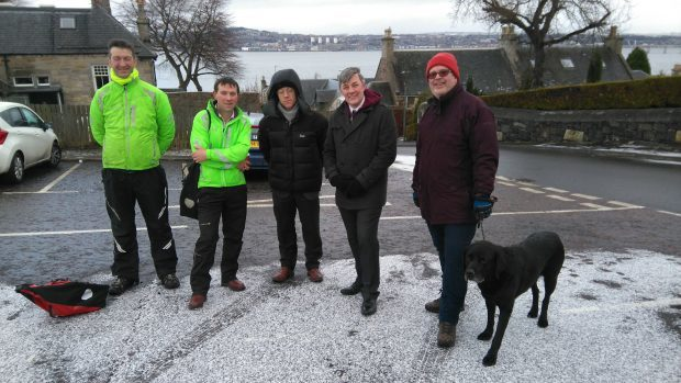 Participants in the walk photo: left to right: Neil Malone and Philip Kearney of Sustans, John Mitchell, Fife Council senior manager for roads and transportation, Councillor Altany Craik, Councillor Johnny Tepp.