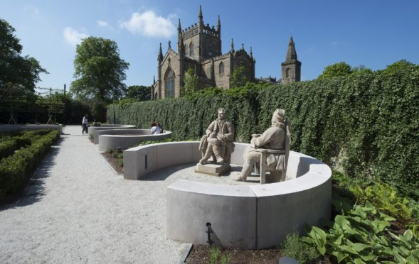 Dunfermline Abbey and gardens at the award-winning Dunfermline Carnegie Library and Gallery