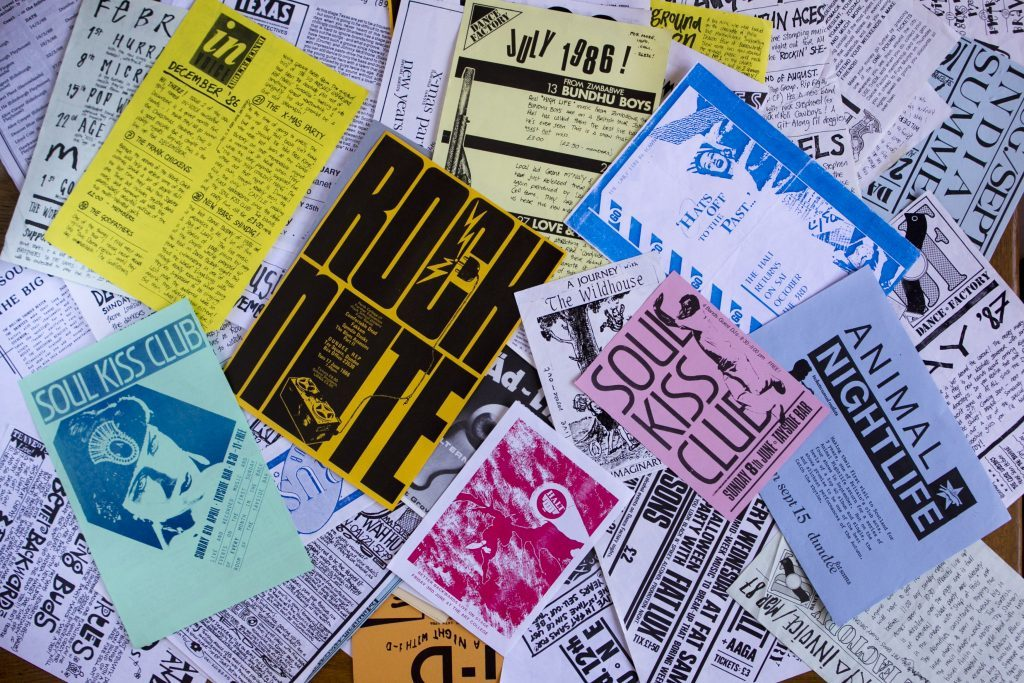 Some of Jans music flyers from the 1980s/1990s