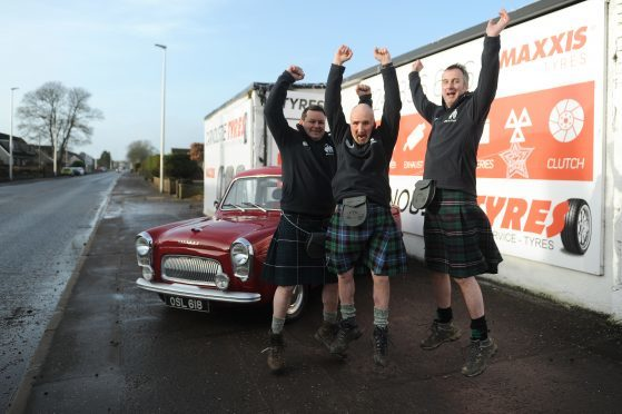 David Tindal, Alan Falconer and Stephen Woods ready for the Monte rally start ramp