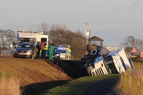 A lorry ended up in the ditch alongside the A92 south of Arbroath near the Arbirlot junction.