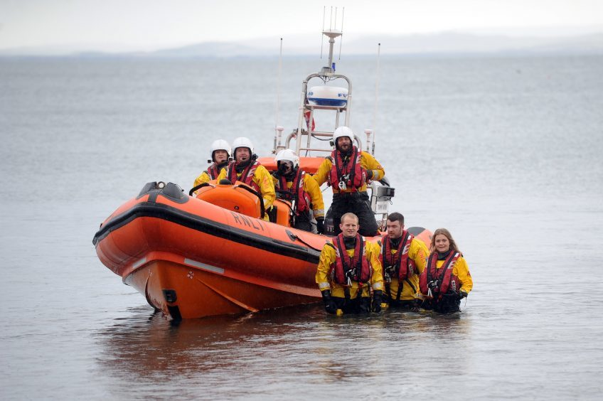 The crew of the Kinghorn lifeboat oversaw the dook.
