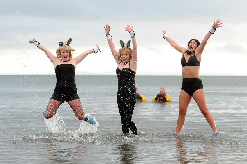 Fiona Stewart, Karen Archibald and Rebecca Cain at Kinghorn Beach.
