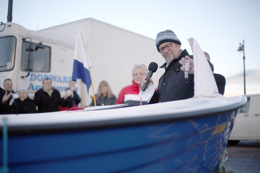 The two new Phibbies boats (Stewart Phillips and Joyce McIntosh) being blessed at Broughty Ferry Dook.
