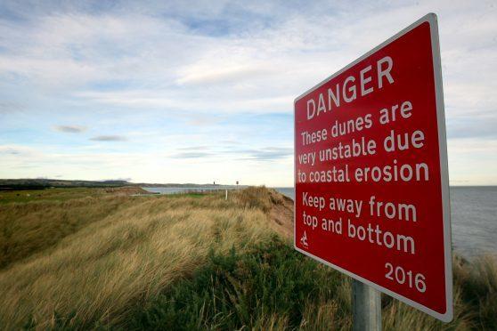Coastal erosion on the Angus coastline near Montrose