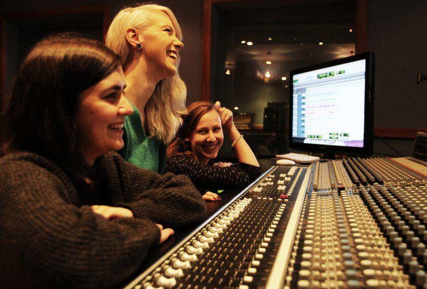 Maryah Itani, 25, Katharina Schwan, 20 and Laima Siauruseviciute, 25,  in the recording studio at Perth College UHI