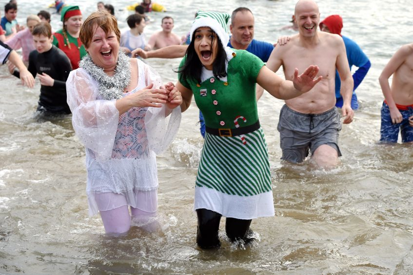 The annual New Year's Day Dip at Stonehaven. Pic: Kenny Elrick.