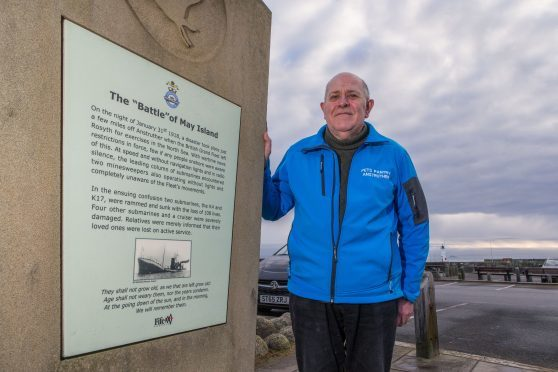 Secretary to Anstruther Community Council, Martin Dibley, at the memorial to the Battle of May Island.
