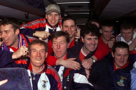 The Inverness players enjoyed their bus trip home from Celtic Park.