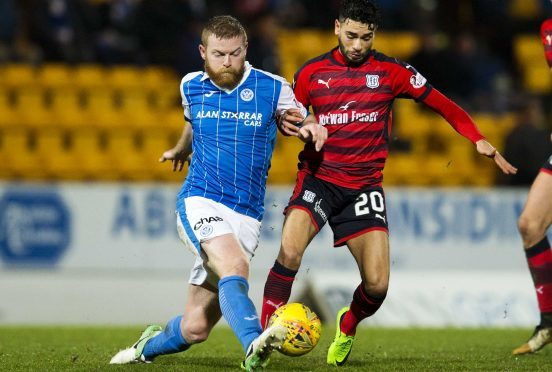 Brian Easton in action against Dundee.