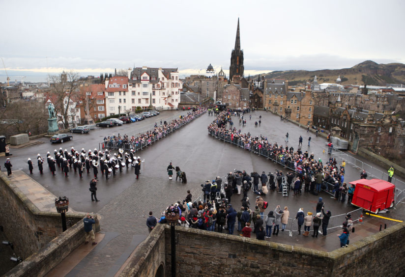Well wishers gather ahead of Prince Harry and Meghan Markle's visit to Edinburgh Castle with Prince Harry on February 13