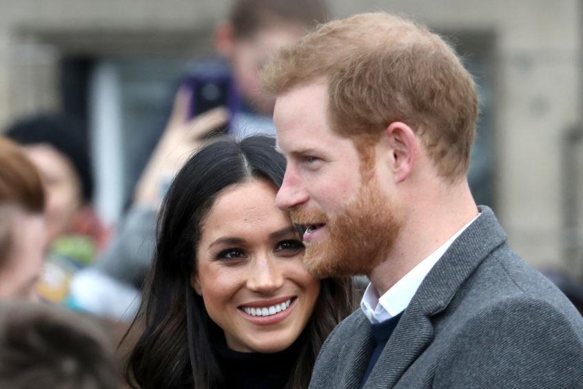 Prince Harry and Meghan Markle arrive to Edinburgh Castle