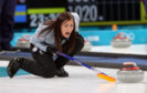 Eve Muirhead during the Women's Round Robin Session 1 match against Olympic Athletes from Russia at the Gangneung Curling Centre.