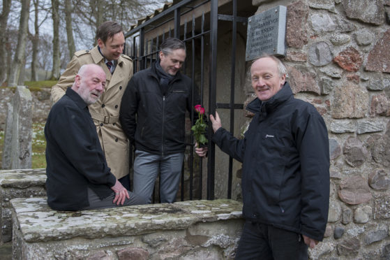 From left: Dave Ramsay, Liam Kerr, Alan Brown and Nigel Taylor launch the new Mearns Heritage Trail in the old kirkyard, Glenbervie.