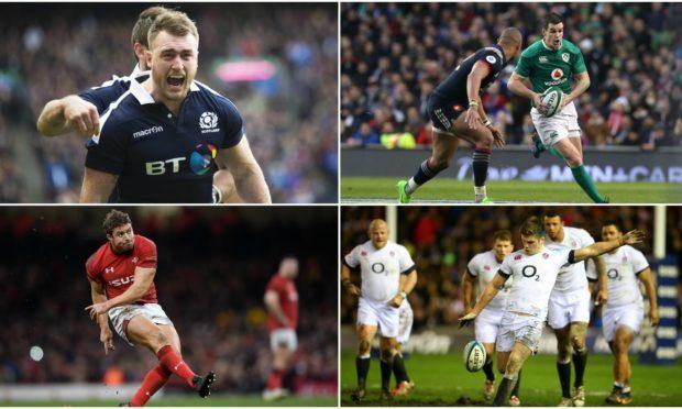 Stuart Hogg of Scotland, Jonny Sexton of Ireland, Leigh Halfpenny of Wales and Owen Farrell of England