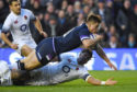 Huw Jones scores his second try in Scotland's 25-13 win over England on Saturday.