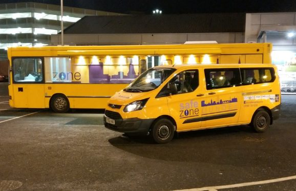 """The Safe Zone main bus and """"sweeper"""" vehicle help to make the city centre a safer place."""