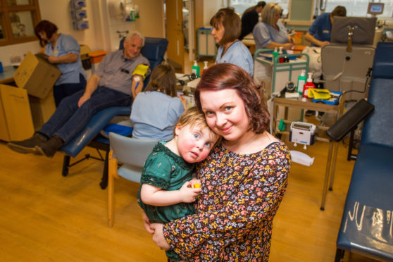 Gemma Edwards with daughter Skye (2) with Donor Carers at the Blood Donor Centre in Ninewells Hospital, Dundee