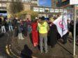 Staff on strike at Dundee University.
