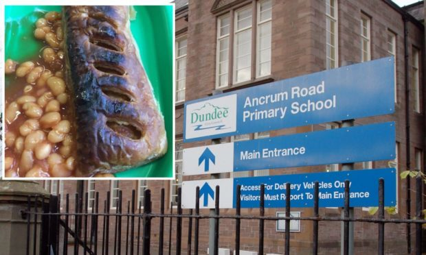 The burnt sausage roll served up at Ancrum Road Primary School.