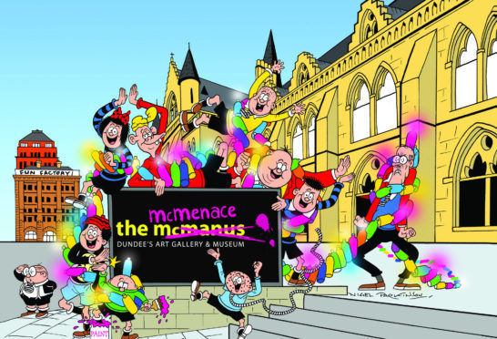 Beano illustrator Nigel Parkinson's original artwork starring The Bash Street Kids larking about and designing the new sign for The McMenace.