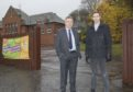 Councillors Angus Forbes (left) and Alasdair Bailey outside Abernyte Primary.