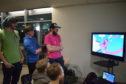 Members of Bit Loom Douglas Flinders, Henry Pullan and James Wood demonstrate last year's winning game PHOGS!