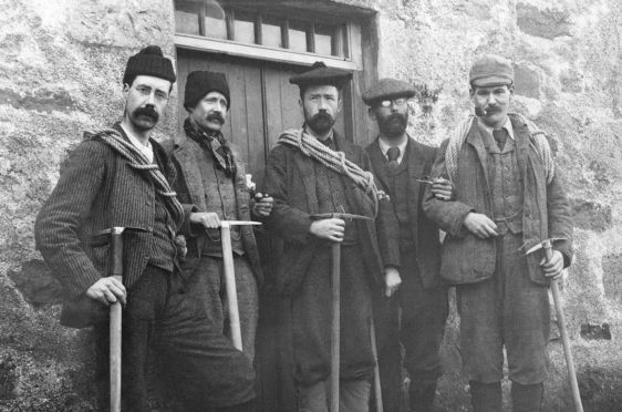 Sir Hugh Munro, centre, with a group of walkers.
