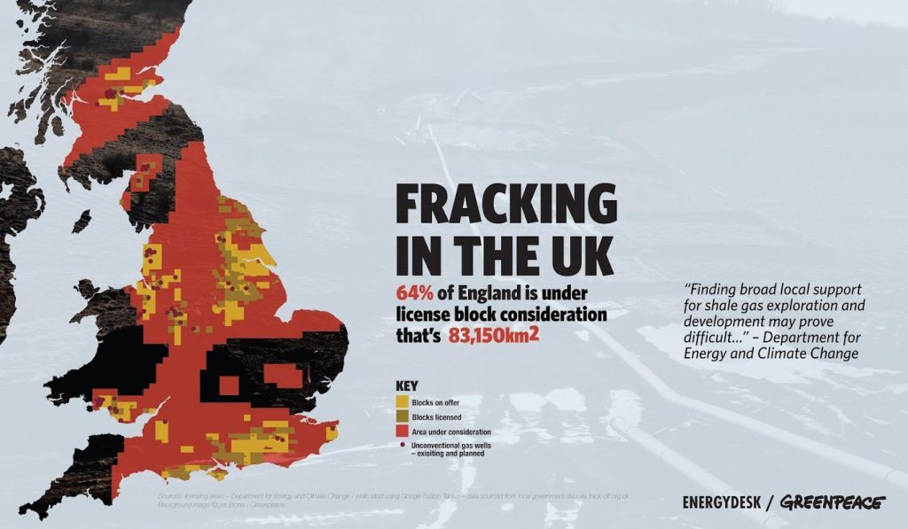 Map of potential fracking sites in UK