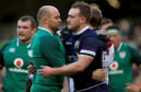 Ireland's Rory Best and Scotland's Stuart Hogg at the end of the NatWest Six Nations match at the Aviva Stadium, Dublin.