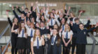 Perth Academy Junior Choir, winners of the Lady Juliet Scrymgeour , Wedderburn Cup celebrating with their music teacher and conductor Catriona Rutherford.