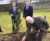 Photo shows L-R Consul General Matsunaga, Lord Charles Bruce, front - Ronnie Watt OBE