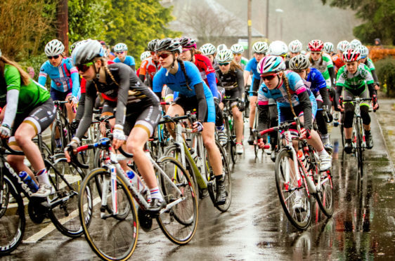 Compeitorrs at a previous Scottish Cycling Youth Tour of Scotland.