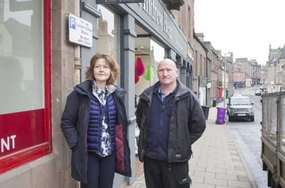 Katharine McLean and  Ray Bruce on Forfar's West High Street.