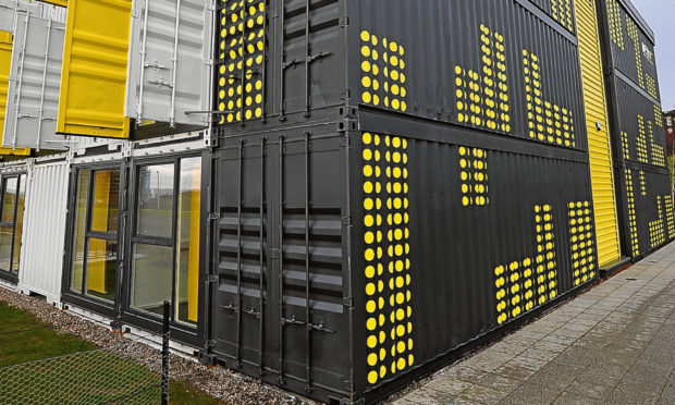 The District 10 suite of offices made from shipping containers at Seabraes, Dundee. Picture: Kim Cessford.