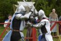 Knights fighting ahead of the International Medieval Combat Federation World Championships at Scone Palace.