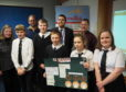 Back row from left,  GrowBiz CEO Jackie Brierton, Glen Lyon Coffee's Jamie Grant, Breadalbane Academy teacher Tim Woodcock, Paul Newman from the Thyme at Errichel Restaurant and (front) the Spice team, Dougall Gray, Oliver Kennedy, Craig Campbell, Sarah Milne and Eilidh Hinch.