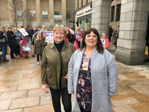 Mill o' Mains Commnity Pavilion volunteers Maggie Anderson, 50, and Yvonne Mullen, 56, outside Dundee City Chambers.