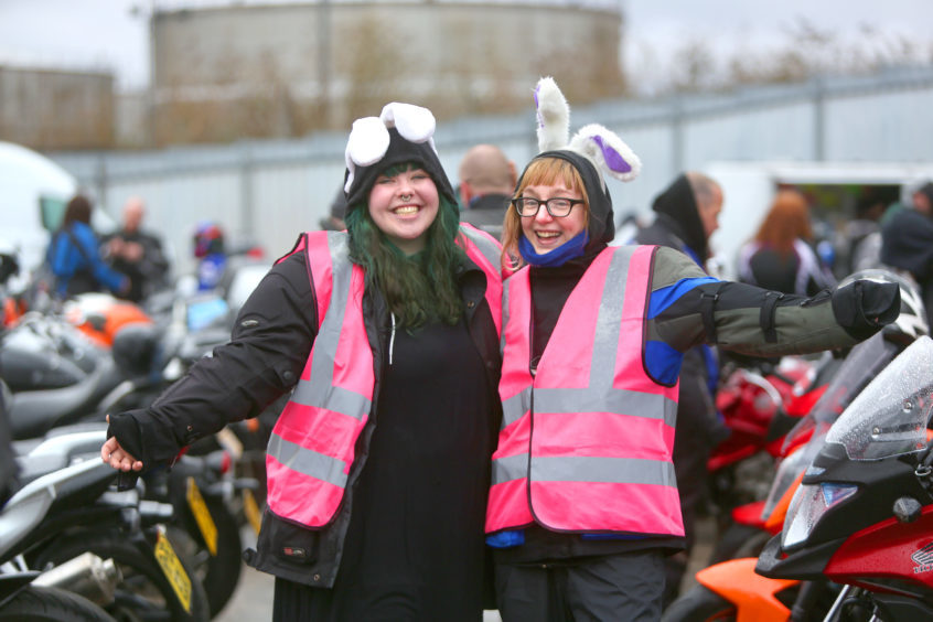 Sam Kelly and Laura Scott helping organise the Easter egg ride out.