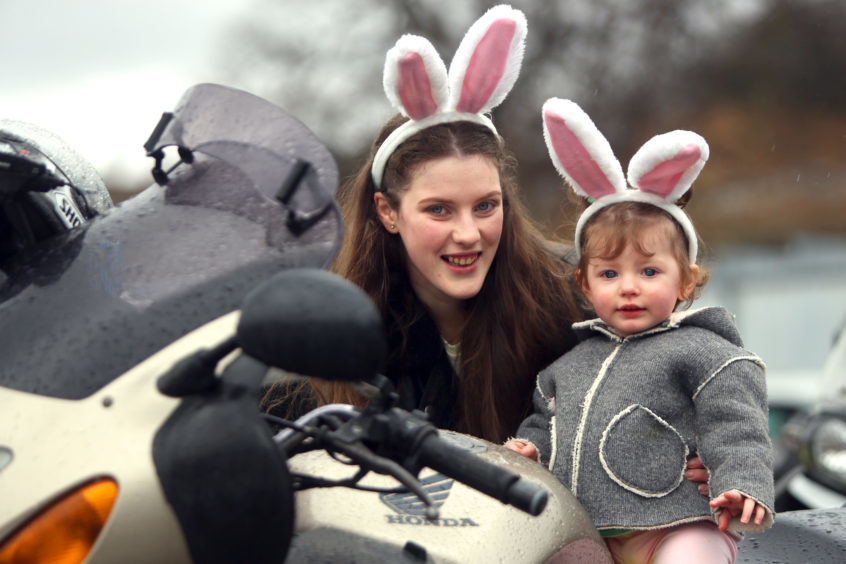 Nicola and Erin Finlay on one of the bikes ahead of the Easter Egg run.