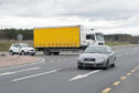 An HGV attempts to cross the A90 at Northwaterbridge junction.
