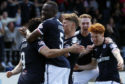 The Dundee players celebrate Sofien Moussa's opener last week.