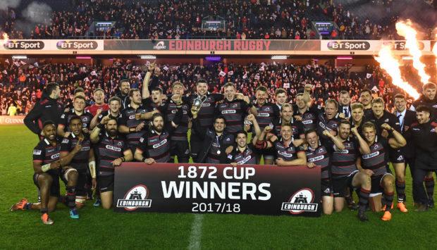 Edinburgh celebrate their 1872 Cup win.