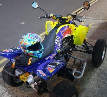The distinctive quadbike.