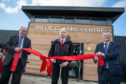 Willie Clarke officially opens the new Lochore Meadows centre which has been named after him, alongside Fife Council leaders David Ross, left, and David Alexander.