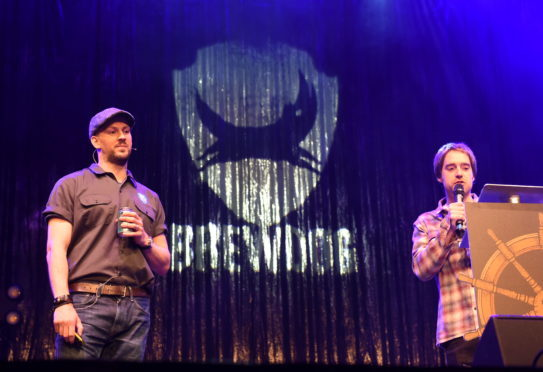 Brewdog founders James Watt and Martin Dickie speaking at the AGM held at the AECC.